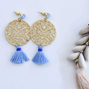 Yellow earrings with Blue Tassel