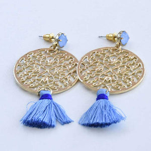 Yellow earrings with Blue Tassel - Seeyacollection