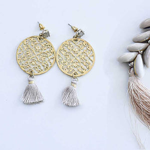 Yellow earrings with Brown Tassel - Seeyacollection