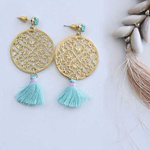 Yellow Earrings with Light Green Tassel