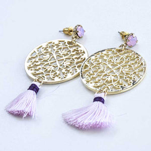 Yellow Earrings with Pink Tassel - Seeyacollection