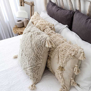Shaggy Cushion Cover Creme with Tassels 50x50 - Seeyacollection