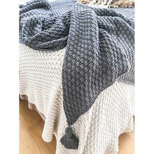 Tassel Throw Blanket Dark Grey - Seeyacollection