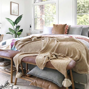 Tassel Throw Blanket Deluxe Brown King Size - Seeya Collection