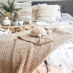 Tassel Throw Blanket Deluxe Brown King Size - Seeyacollection