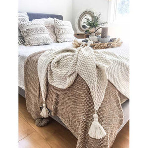 Tassel Throw Blanket Off-White - Seeyacollection