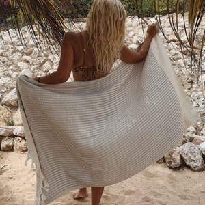 Turkish Hammam Beach Towel Peshtemals Beige - Seeyacollection