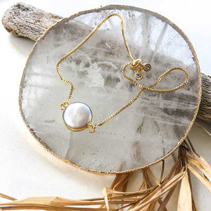 18k Gold Plated Freshwater Pearl Pendant Bracelet - Seeyacollection