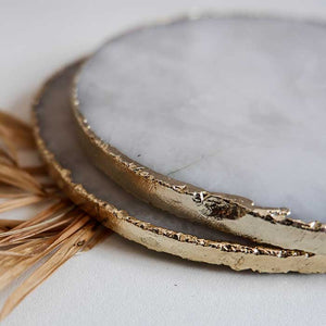 White Agate Coasters Round set of 2 - Seeyacollection