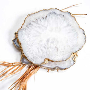 White Salt Agate Coasters set of 2 - Seeyacollection