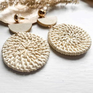 Round Rattan Earrings Woven - Seeyacollection
