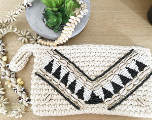 Boho Clutch with Shells - Seeyacollection
