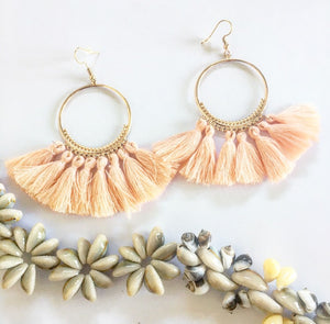Boho Tassel Earrings Big Ethnic Blush - Seeyacollection