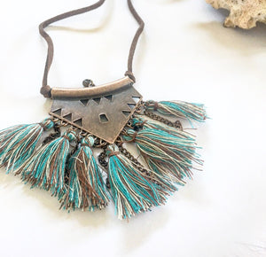 Tassel necklace vintage mixed blue triangle - Seeyacollection