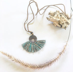 Tassel necklace vintage mixed blue - Seeyacollection