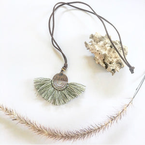 Tassel necklace vintage mixed green - Seeyacollection