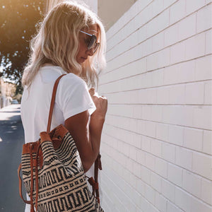 Leather Rattan Backpack Daisy - Seeyacollection