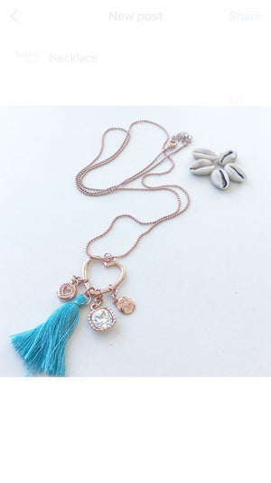 Boho necklace rose with blue tassel - Seeyacollection