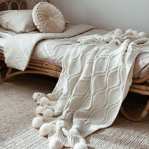 Pom Pom Blanket Luxe and Ultra Soft Chenille Wool - Seeyacollection
