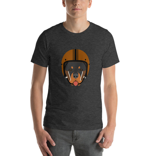 Dog With Vintage Helmet Unisex T-Shirt - Rottweiler
