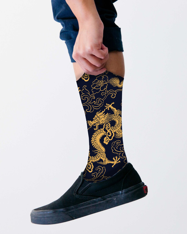 Gold dragon socks
