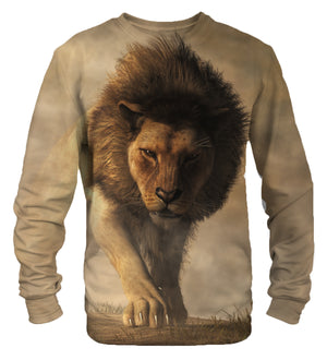 Lion in field sweatshirt
