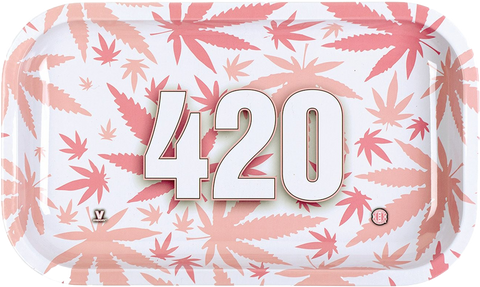 420 White Pink Rolling Tray Large - Puff Puff Palace