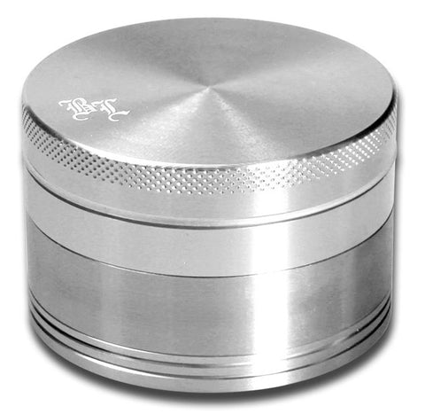 Black Leaf Aluminium Anodised 4-Part Grinder - Silver - Puff Puff Palace