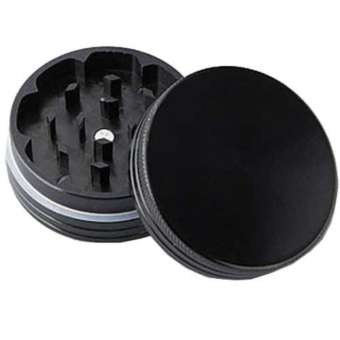 Anodised Grinder 50mm 2 parts - Black - Puff Puff Palace