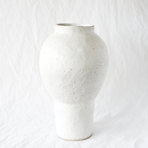 Large white speckled ceramic vase handmade by Emily Ellis