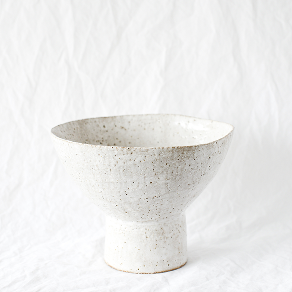 White speckled ceramic vase handmade by Emily Ellis