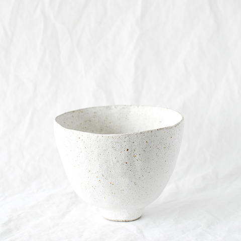 White speckled ceramic planter handmade by Emily Ellis