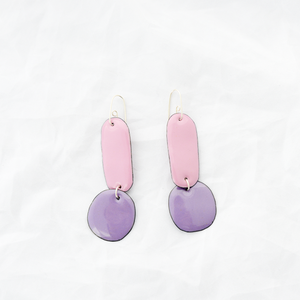Enamel Double Drop Earrings - Purple