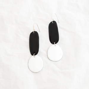 Enamel Double Drop Earrings - Black & White