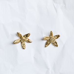 Gold plated earrings handmade by Sydney jeweller Jean Yoshiko