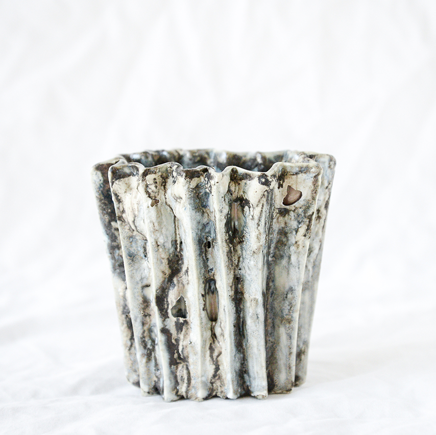 Ceramic Pleated Vase Handmade By Melbourne Ceramicist Kirsten Perry