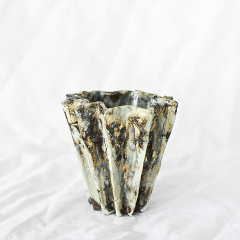 Small Pleated Vase Ash