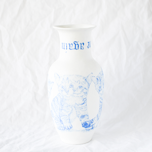 Porcelain Vase With Original Drawing by French Artist Mathieu Frossard