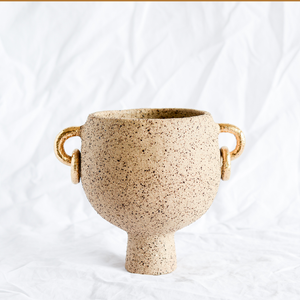 Ceramic Speckled Vessel with gold handles by ceramicist Simone Karras