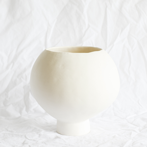 Ceramic White Porcelain Vessel by Melbourne ceramicist Simone Karras