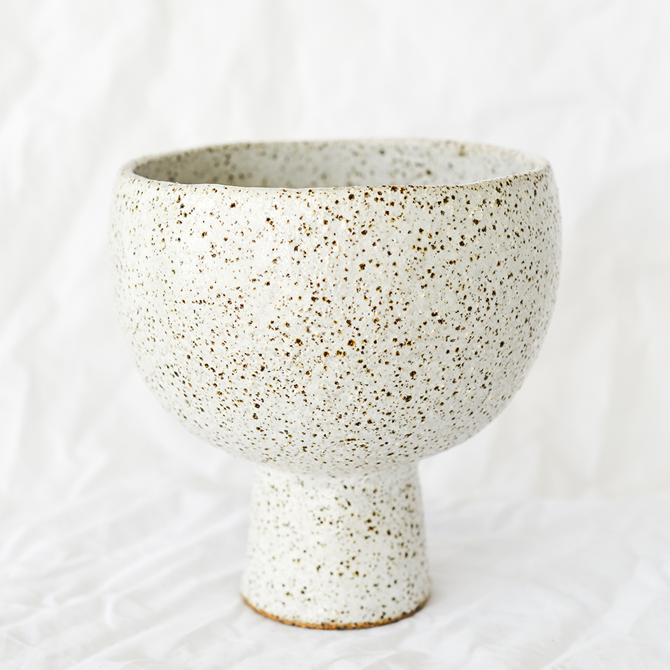 Ceramic White Speckled Vessel by Melbourne ceramicist Simone Karras