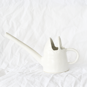 Ceramic White Watering Pot by Melbourne ceramicist Simone Karras