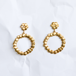Gold-plated (24ct) sterling silver earrings handmade by Melbourne-based jeweller Yasmin Hackett