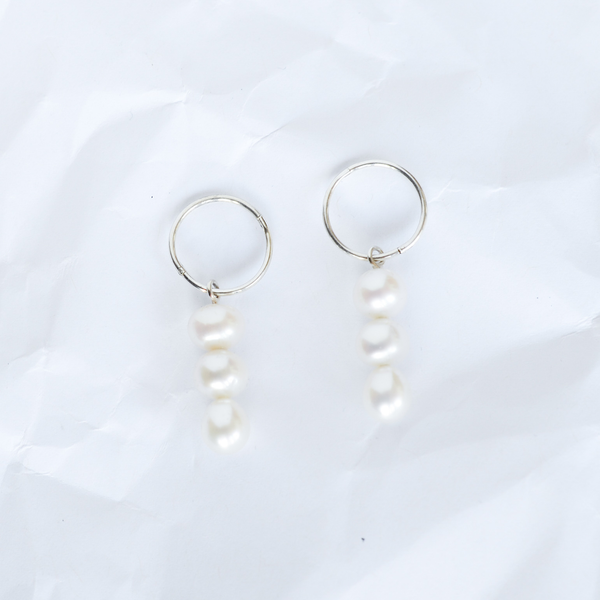 Sterling silver earrings handmade by Melbourne jeweller Yasmin Hackett