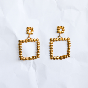 Gold-plated earrings handmade by Melbourne jeweller Yasmin Hackett