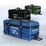 Thick 840 denier fabric, inner lining, pull handle and pockets for maximum usage. Senior size ice hockey player wheel bag.