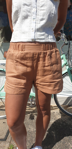 Little lies Lola linen shorts in Terracotta