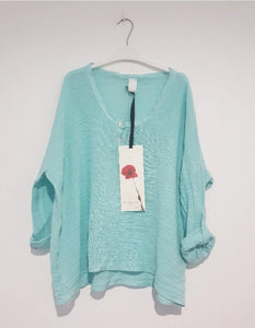 Frederic slouchy linen cotton top in Mint
