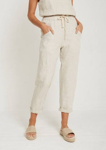 Linen luxe pant in Natural