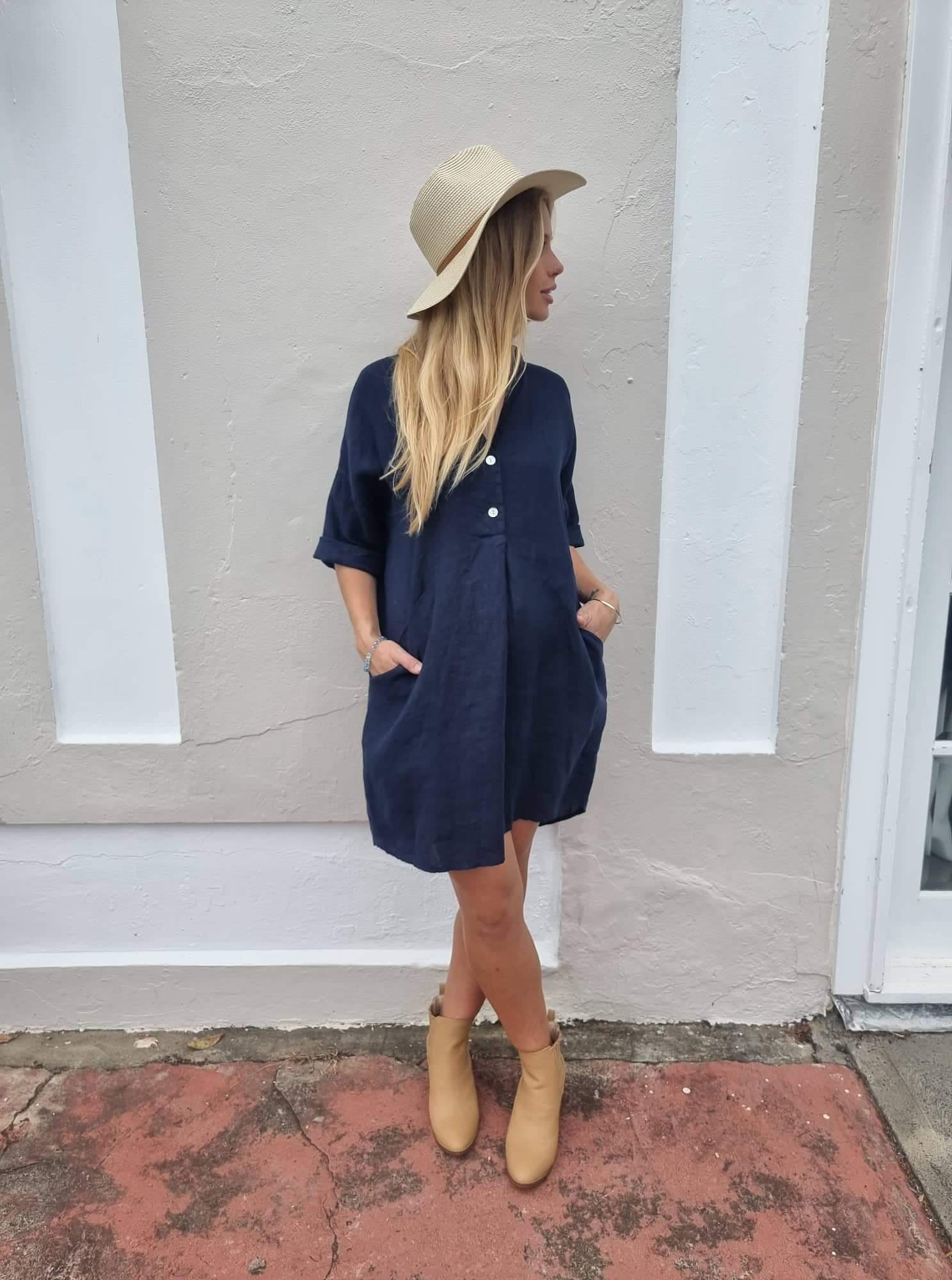 Frederic loose linen shirt dress in Navy